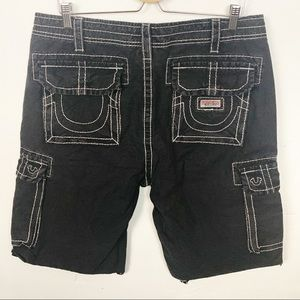 True Religion l Mens Black Cargo Shorts